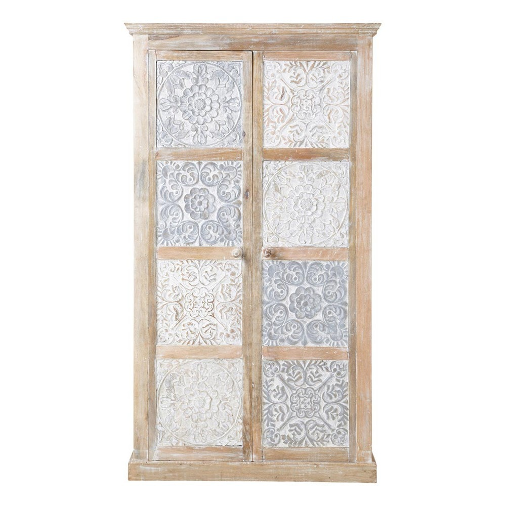 Solid mango wood wardrobe in white and silver W 100cm