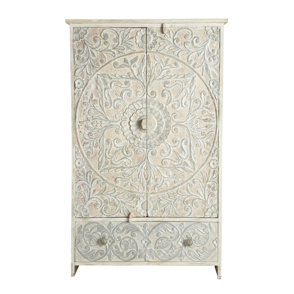 Solid mango wood wardrobe in white and silver W 110cm