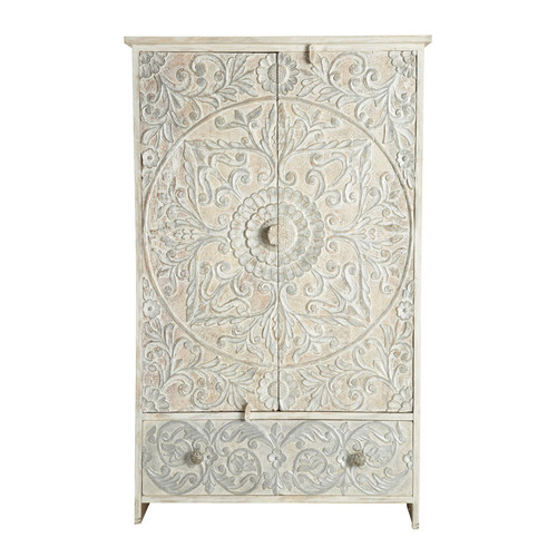 Solid mango wood wardrobe in white and silver w 110cm namaste maisons du monde - Armoire maison du monde ...