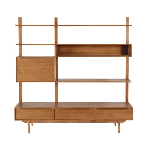 Solid oak vintage tv shelf unit portobello maisons du monde - Maisons du monde meuble tv ...