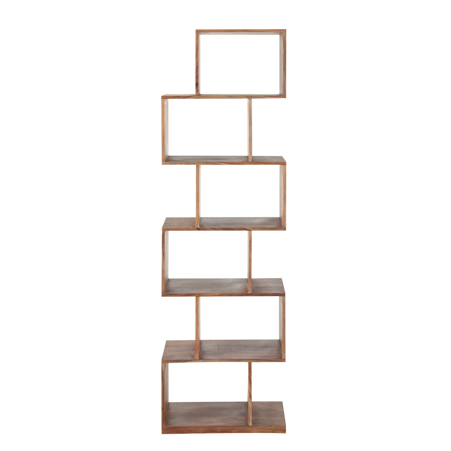 solid sheesham wood 6 compartments shelf unit maisons du monde