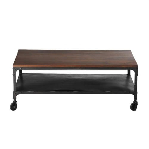 › Coffee Tables › Solid sheesham wood and metal coffee table ...