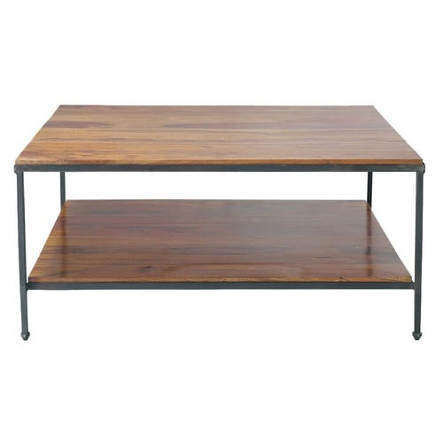 Solid Wood And Metal Coffee Table: Solid Sheesham Wood And Metal Coffee Table W 100cm Lubéron