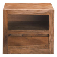 Solid Sheesham Wood Bedside Table with Drawer Stockholm