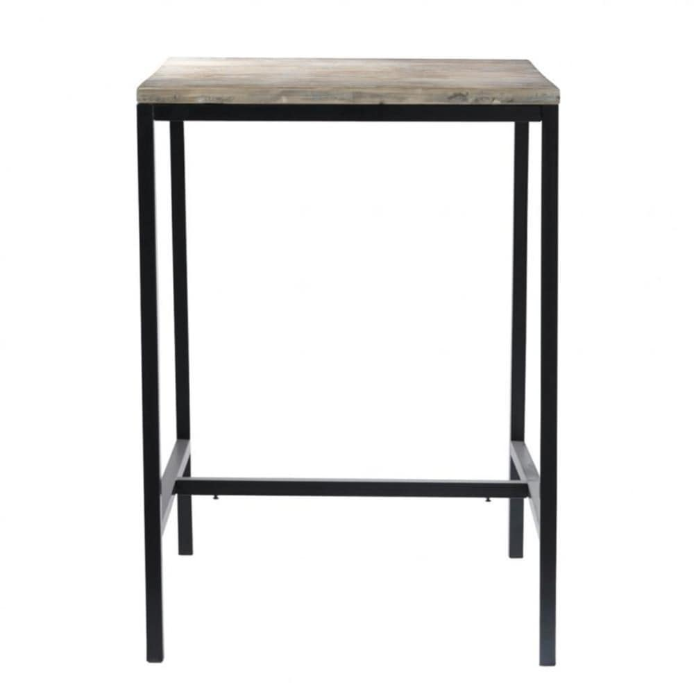 Solid wood and metal industrial tall dining table W 75cm Long
