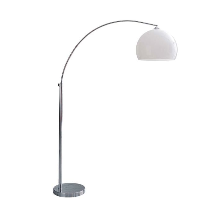 chrome finish metal and plastic floor lamp in white H 209cm ...