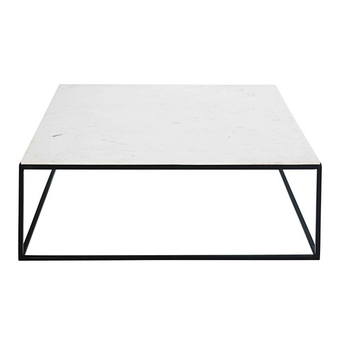 White Marble Top Coffee Table Rectangle: Square Coffee Table In White Marble And Black Metal Marble