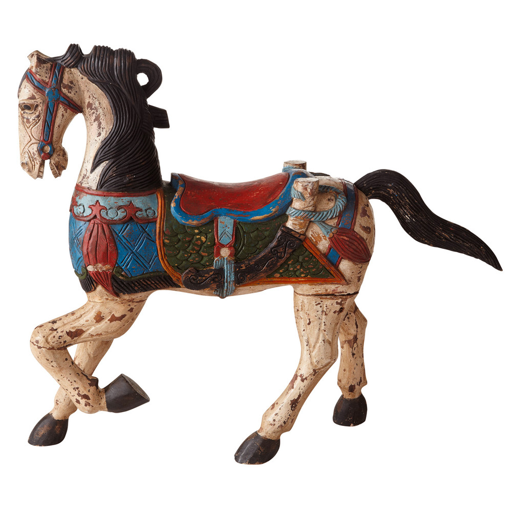 Statue cheval sculptée en acacia H 95 cm ISPAHAN (photo)