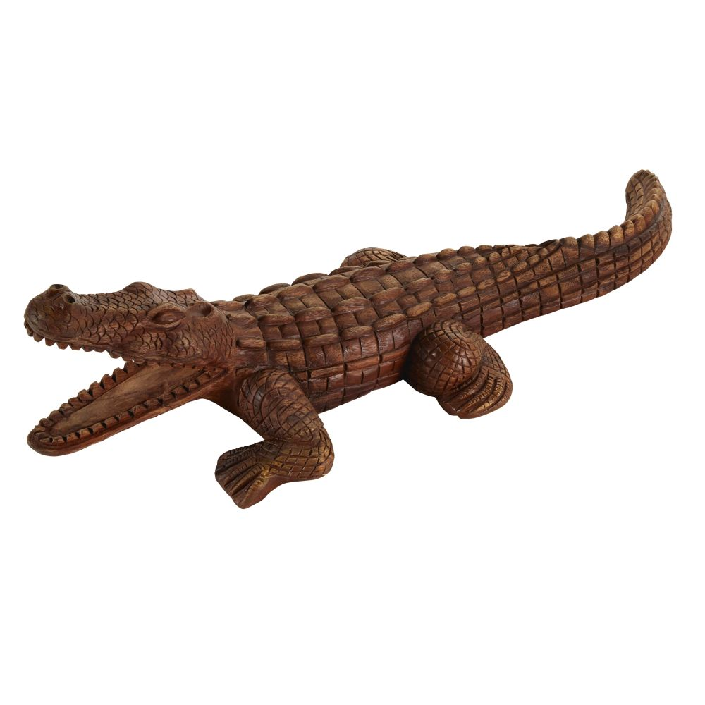 Statue crocodile en albizzia L104 (photo)