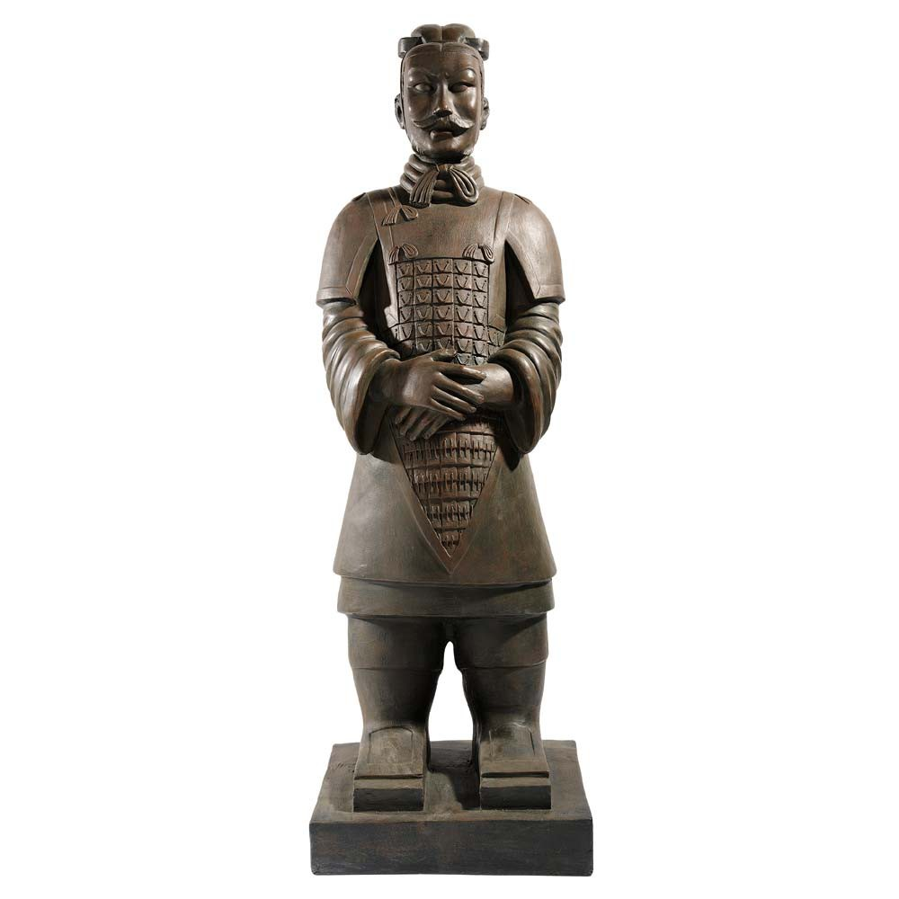 Statue Guerrier de Xian en fibre d'argile marron H 124 cm (photo)