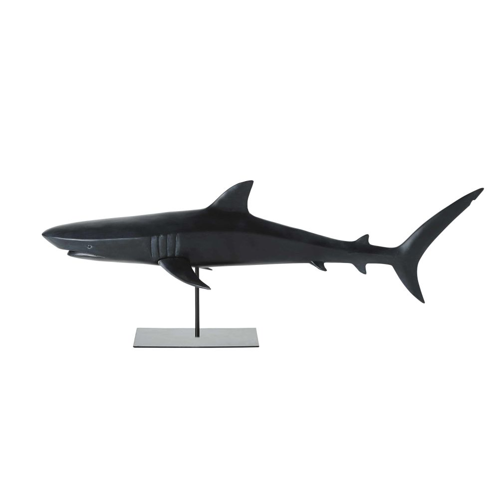 Statue requin noir mat L79 (photo)