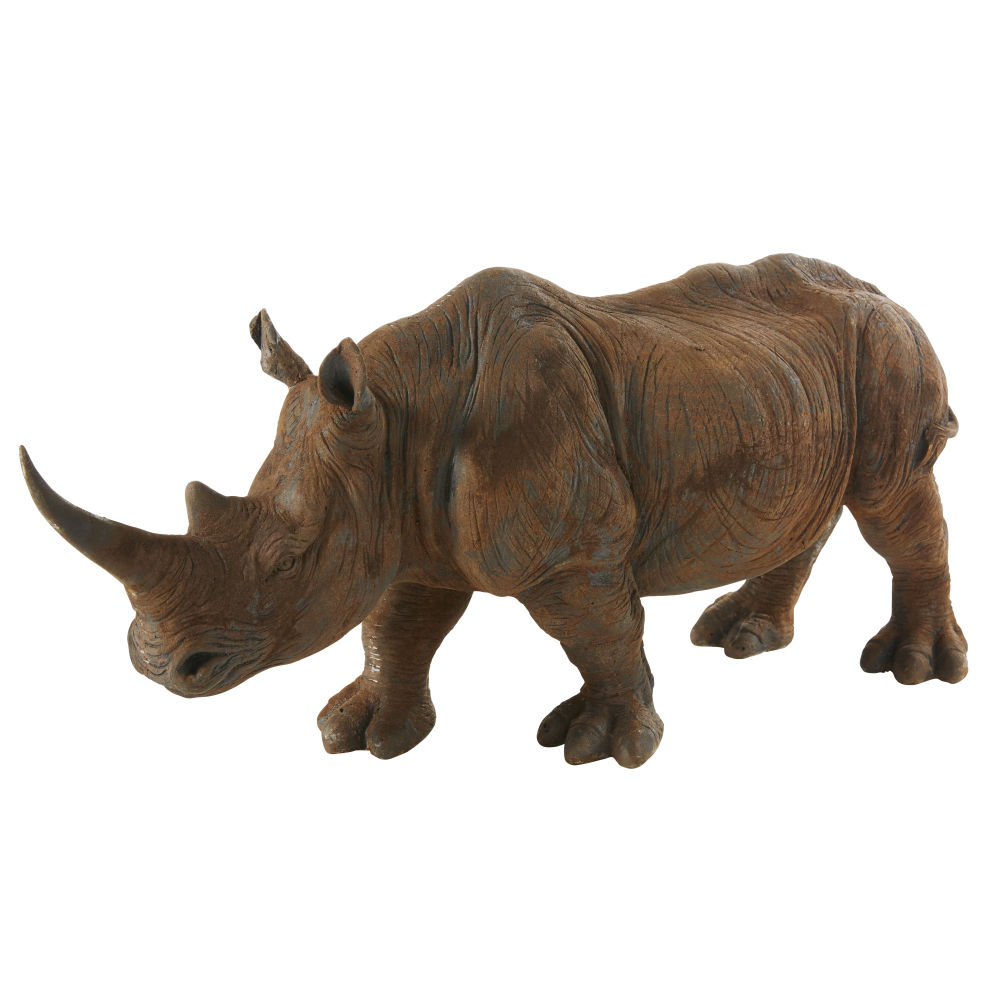 Statue rhinocéros marron vieilli L55 (photo)