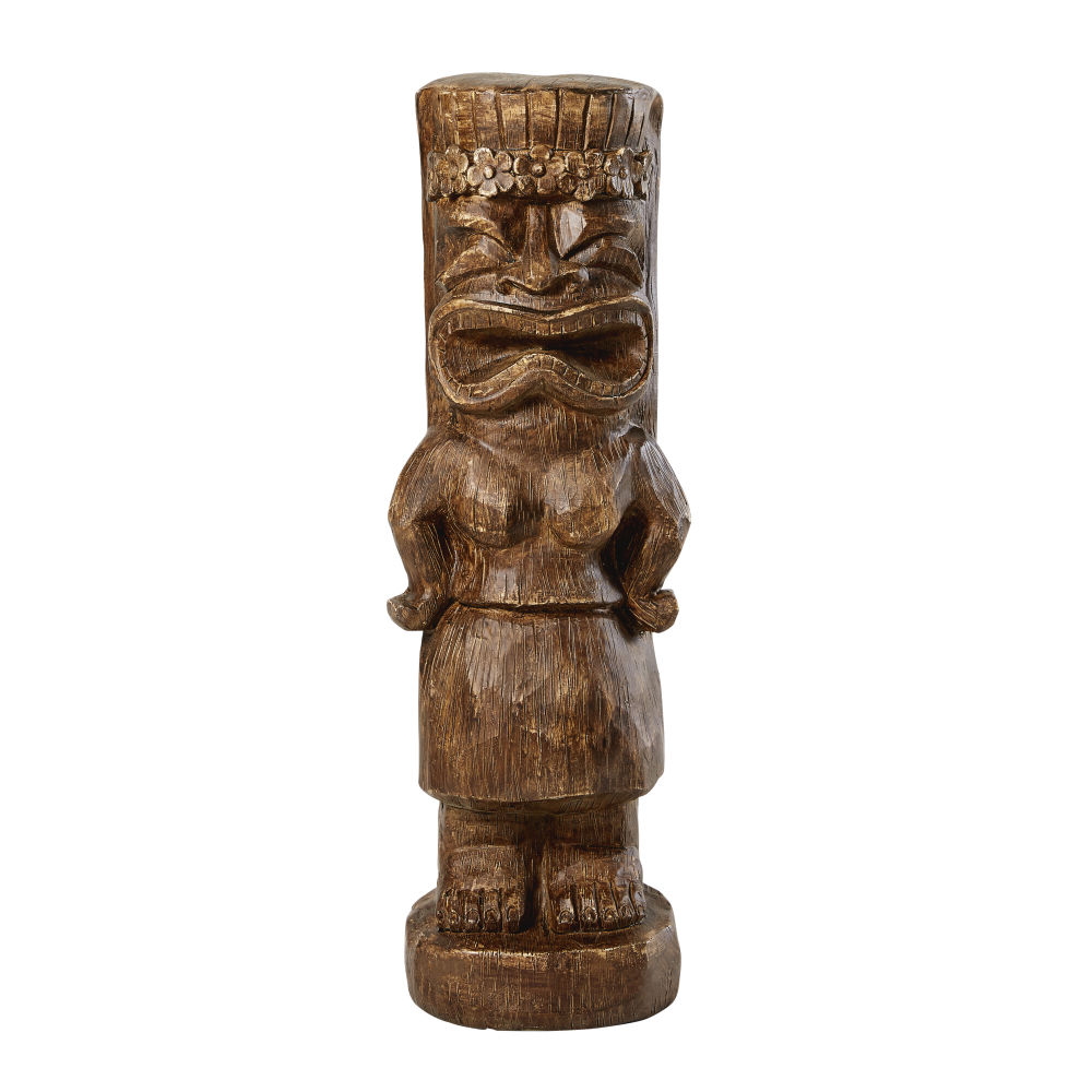 Statue tiki marron effet bois sculpté H91 (photo)