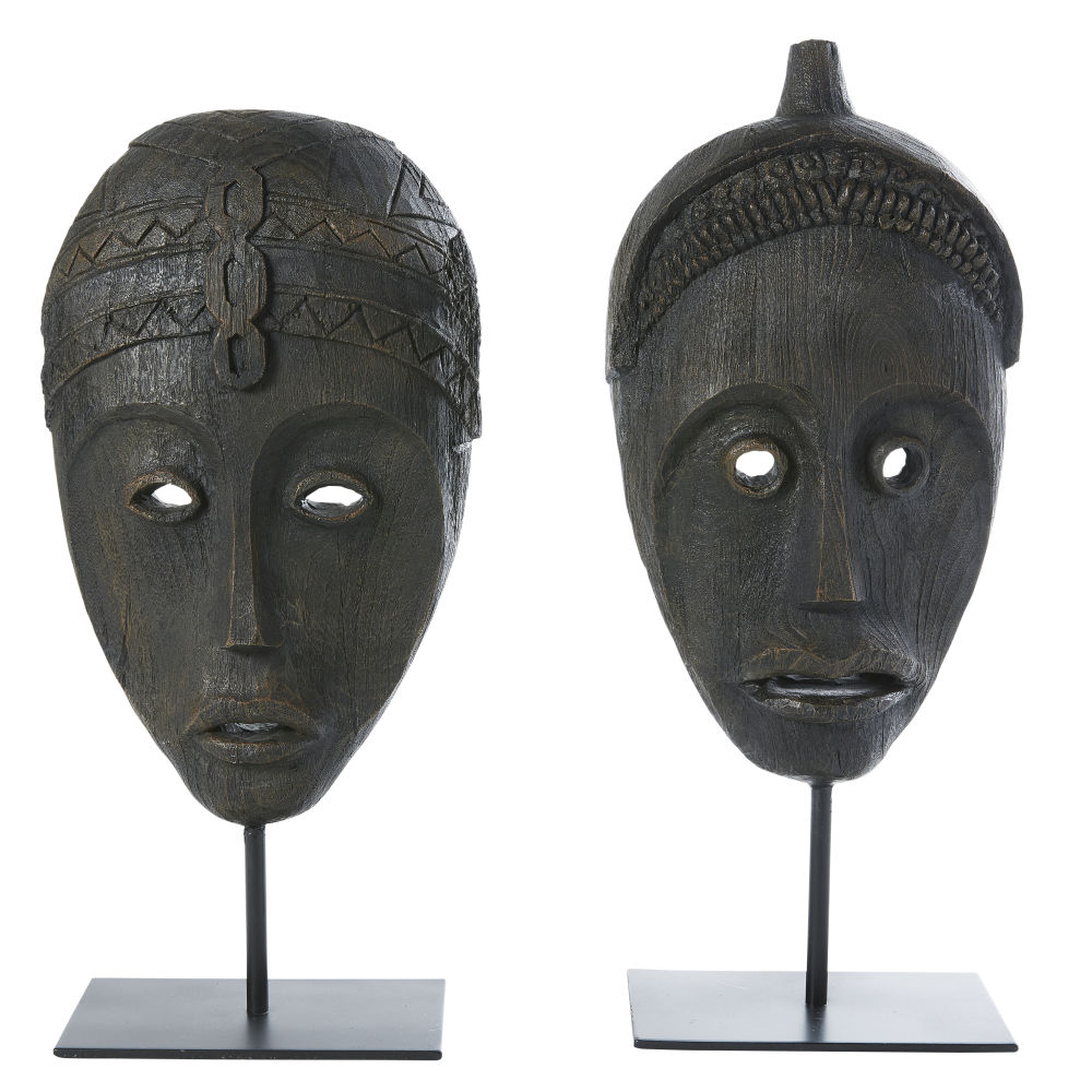 Statues masques noires H46 (x2) (photo)
