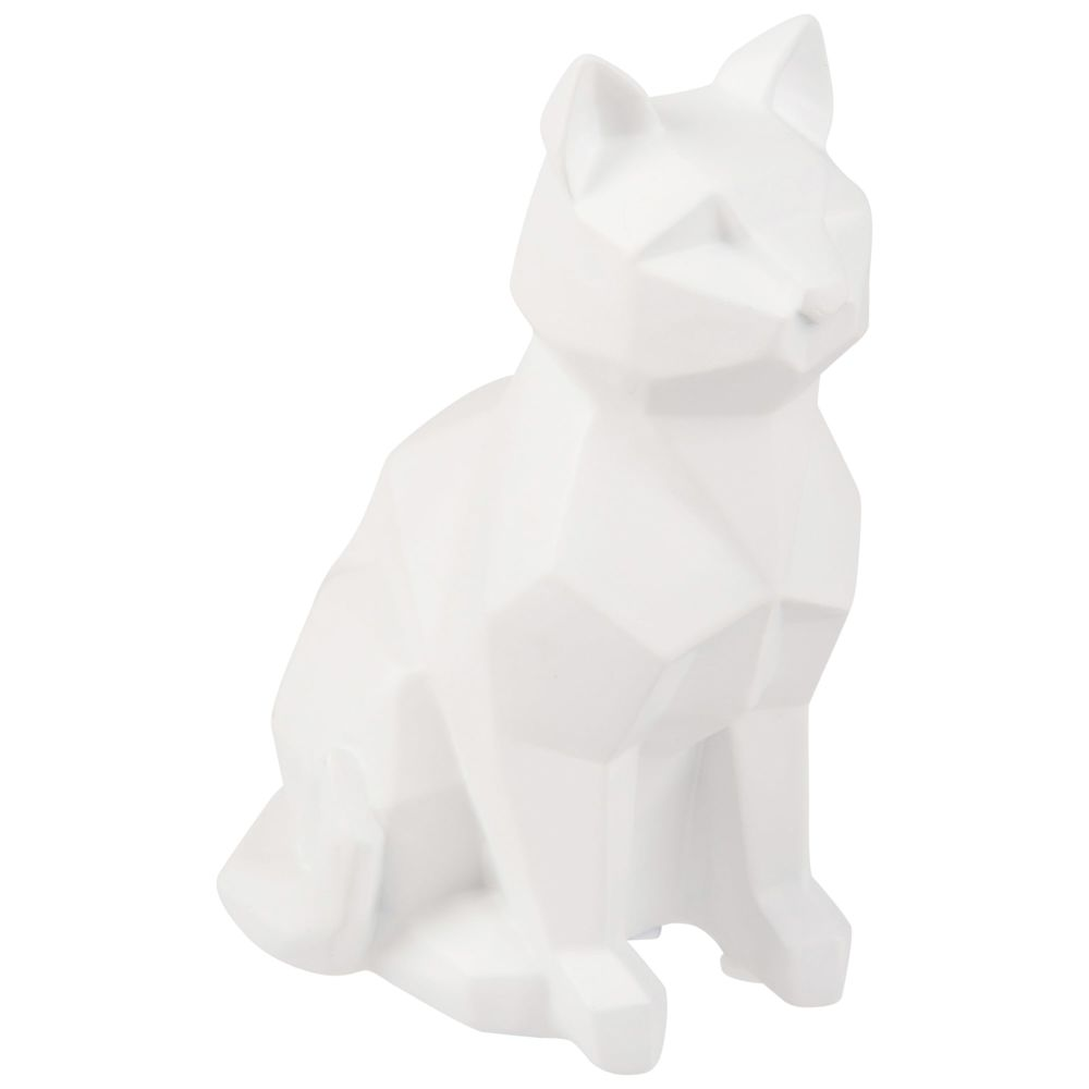 Statuette chat blanc H13