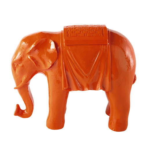 statuette l phant orange pondich ry maisons du monde. Black Bedroom Furniture Sets. Home Design Ideas
