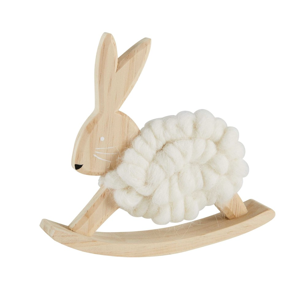 Statuette lapin à bascule en pin H.15cm (photo)