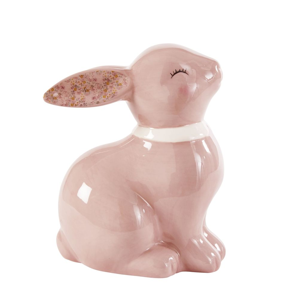 Statuette lapin en céramique rose H14 (photo)
