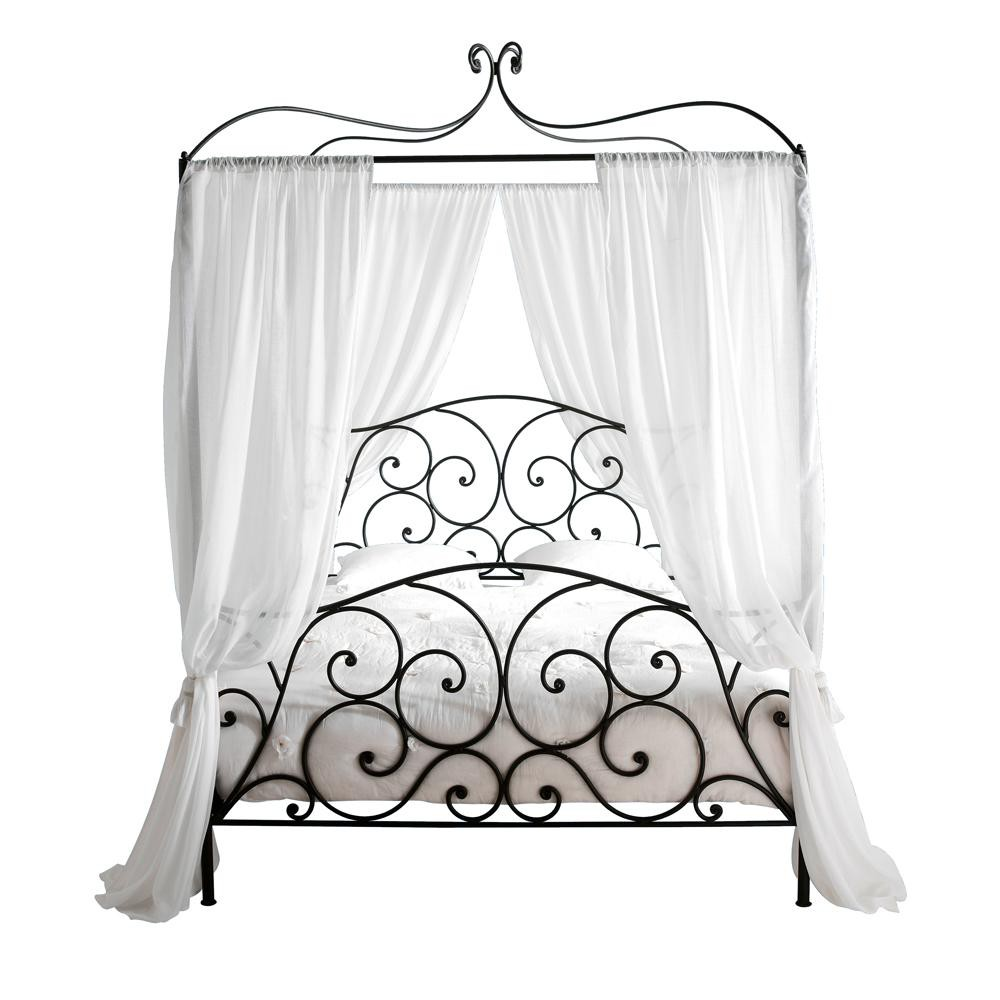 Steel 160 x 200cm king size fourposter bed in brown