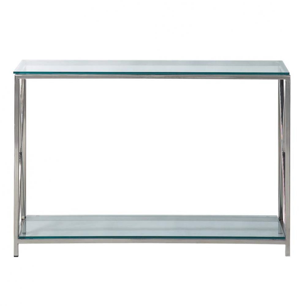 Steel and glass console table in chrome finish W 119cm Maisons du