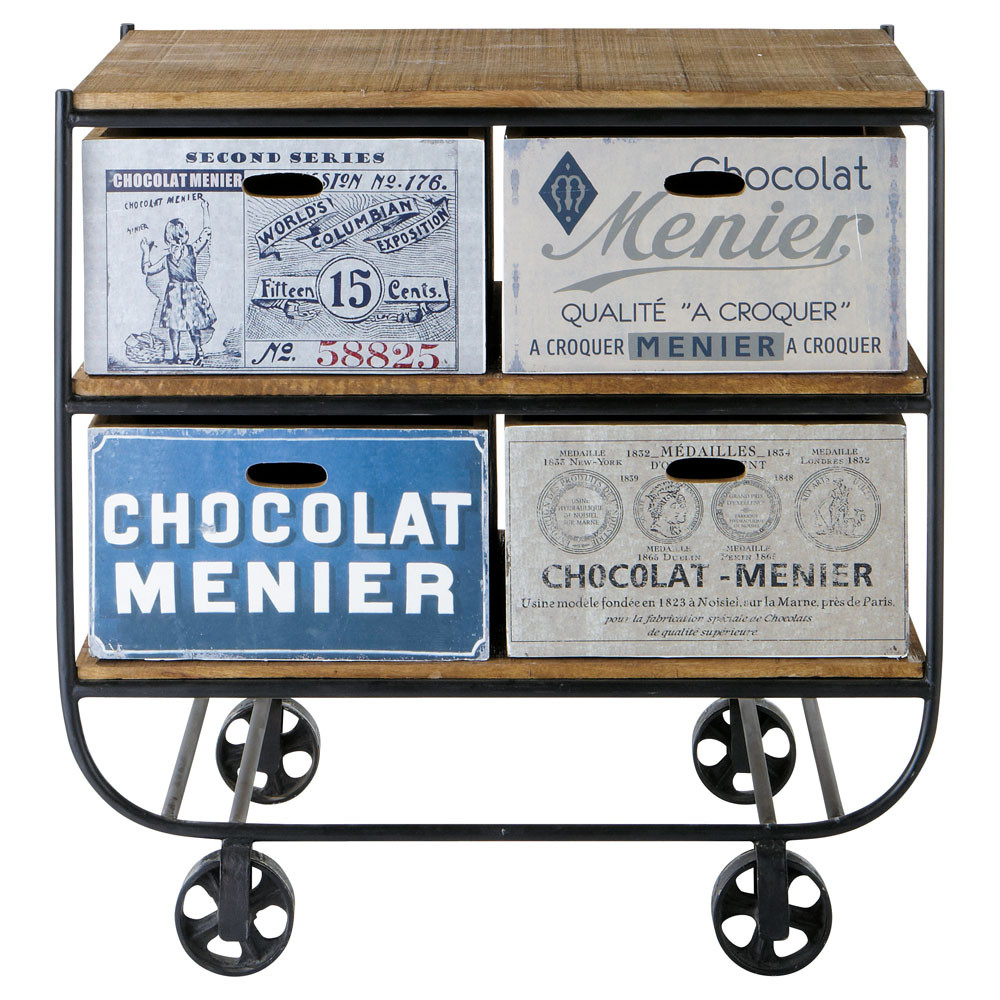 Steel and mango wood printed kitchen trolley W 90cm