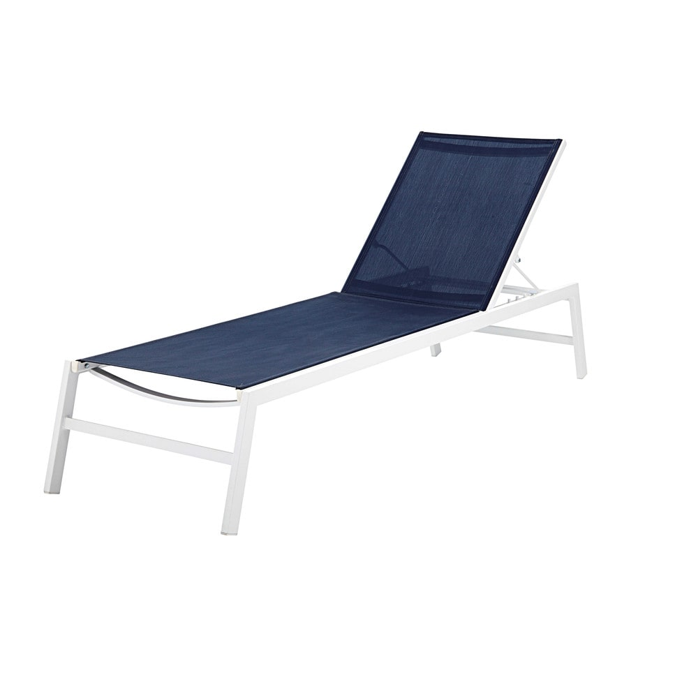 Sun lounger in white aluminium and navy blue plasticcoated canvas
