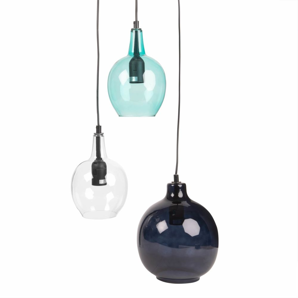 Suspension 3 globes en verre bleu et transparent (photo)