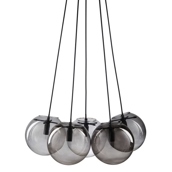 suspension 5 boules en verre fum gris orbe le. Black Bedroom Furniture Sets. Home Design Ideas