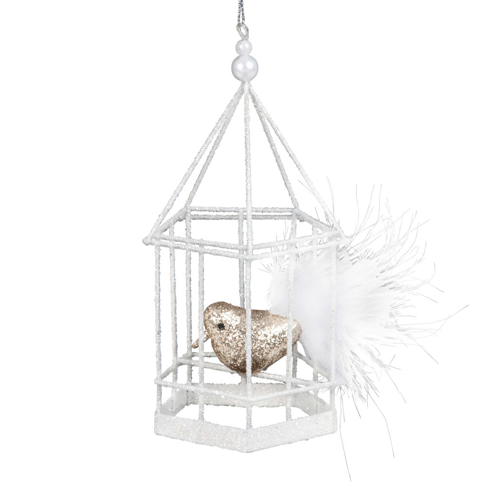 suspension de no l cage blanche avec oiseau paillettes dor es transports delaunay. Black Bedroom Furniture Sets. Home Design Ideas
