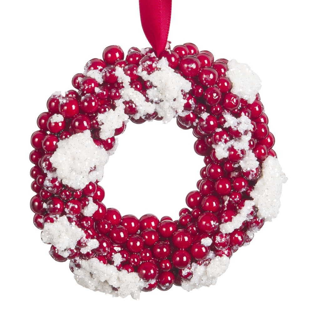 Suspension de Noël couronne rouge et blanche
