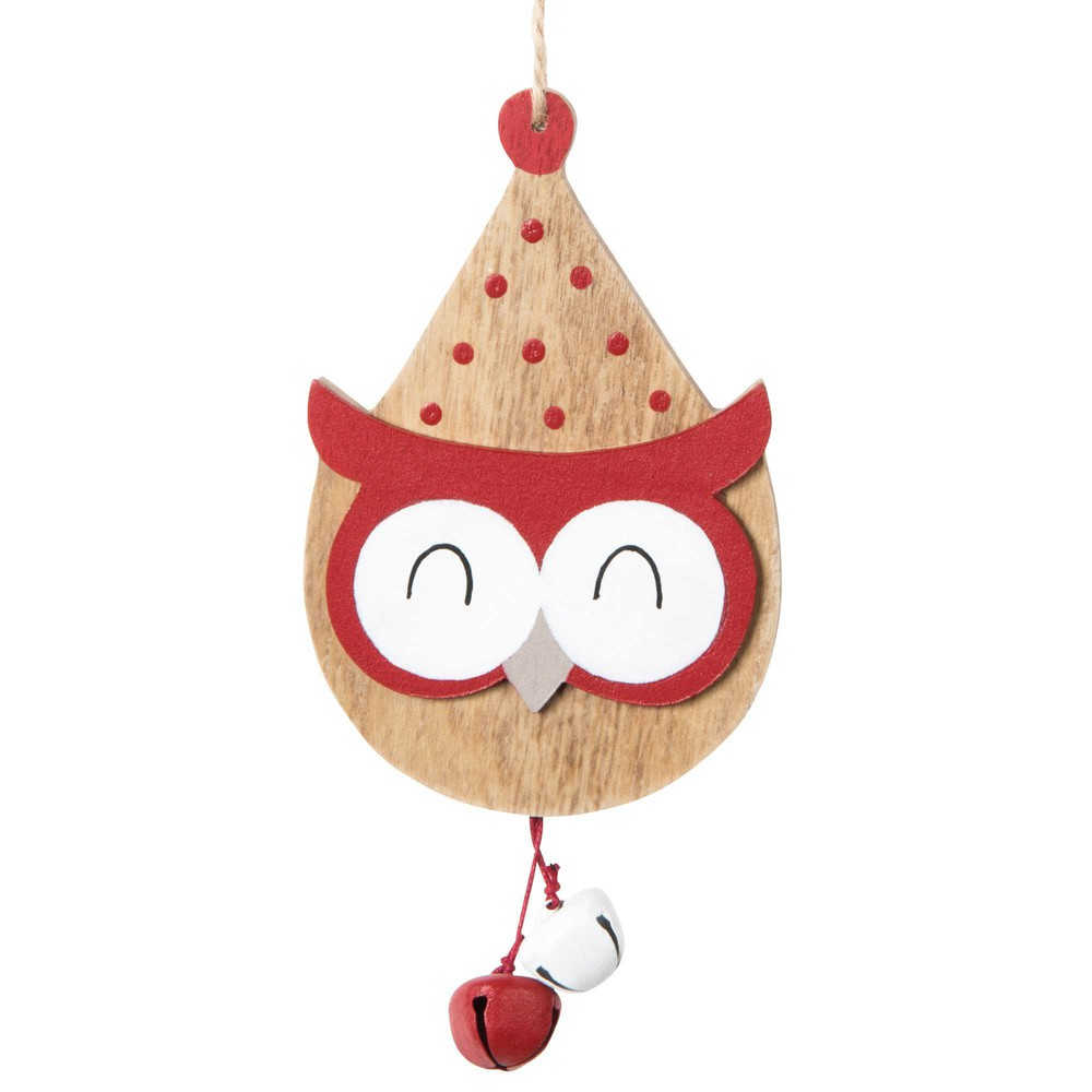 Suspension de Noël hibou avec grelots