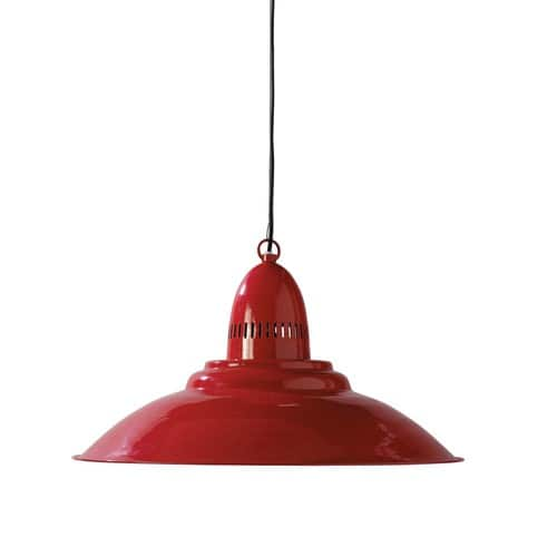 Suspension en m tal rouge d 50 cm comptoir maisons du monde for Suspension rouge cuisine