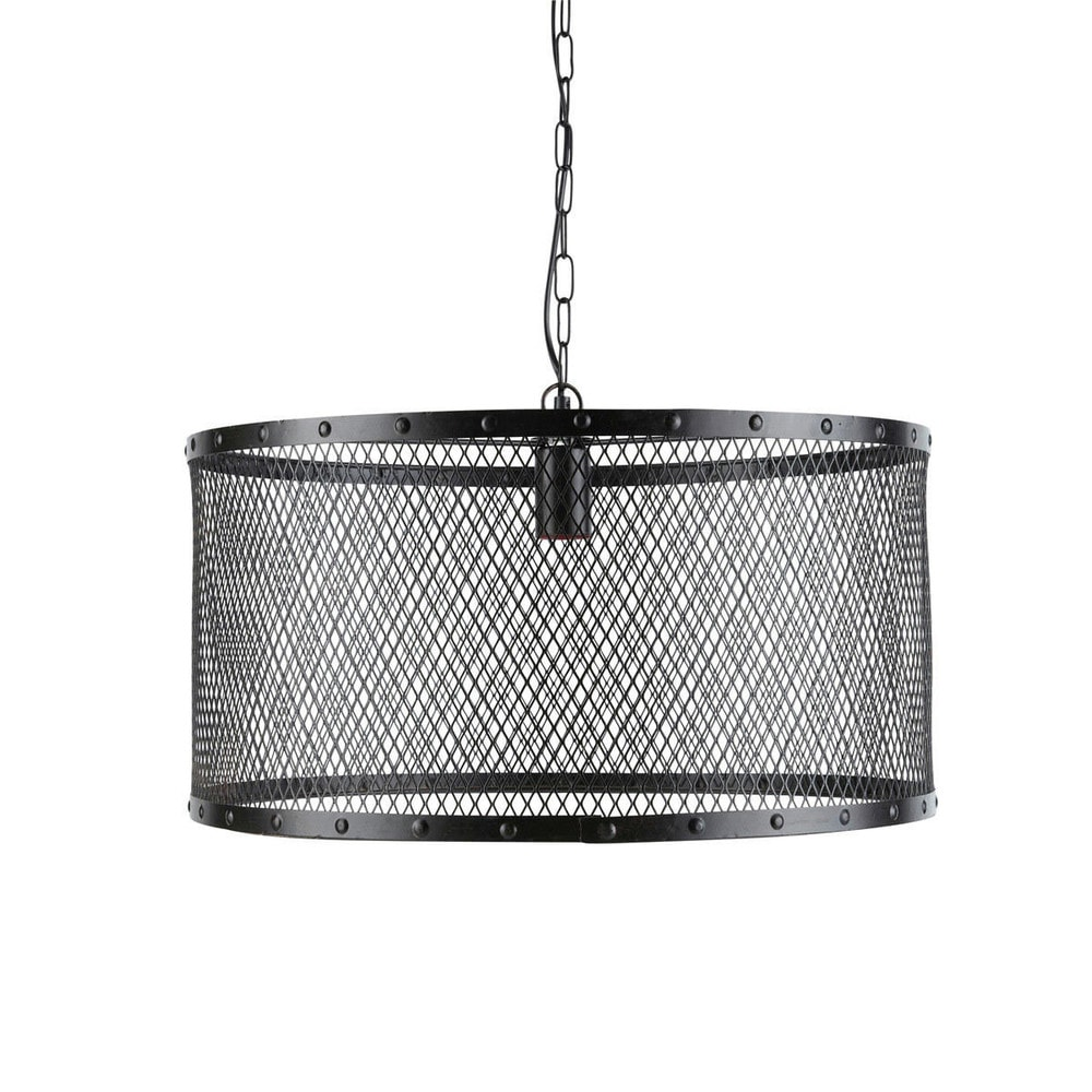 Suspension indus en métal grillagé noire D 55 cm LOUIS