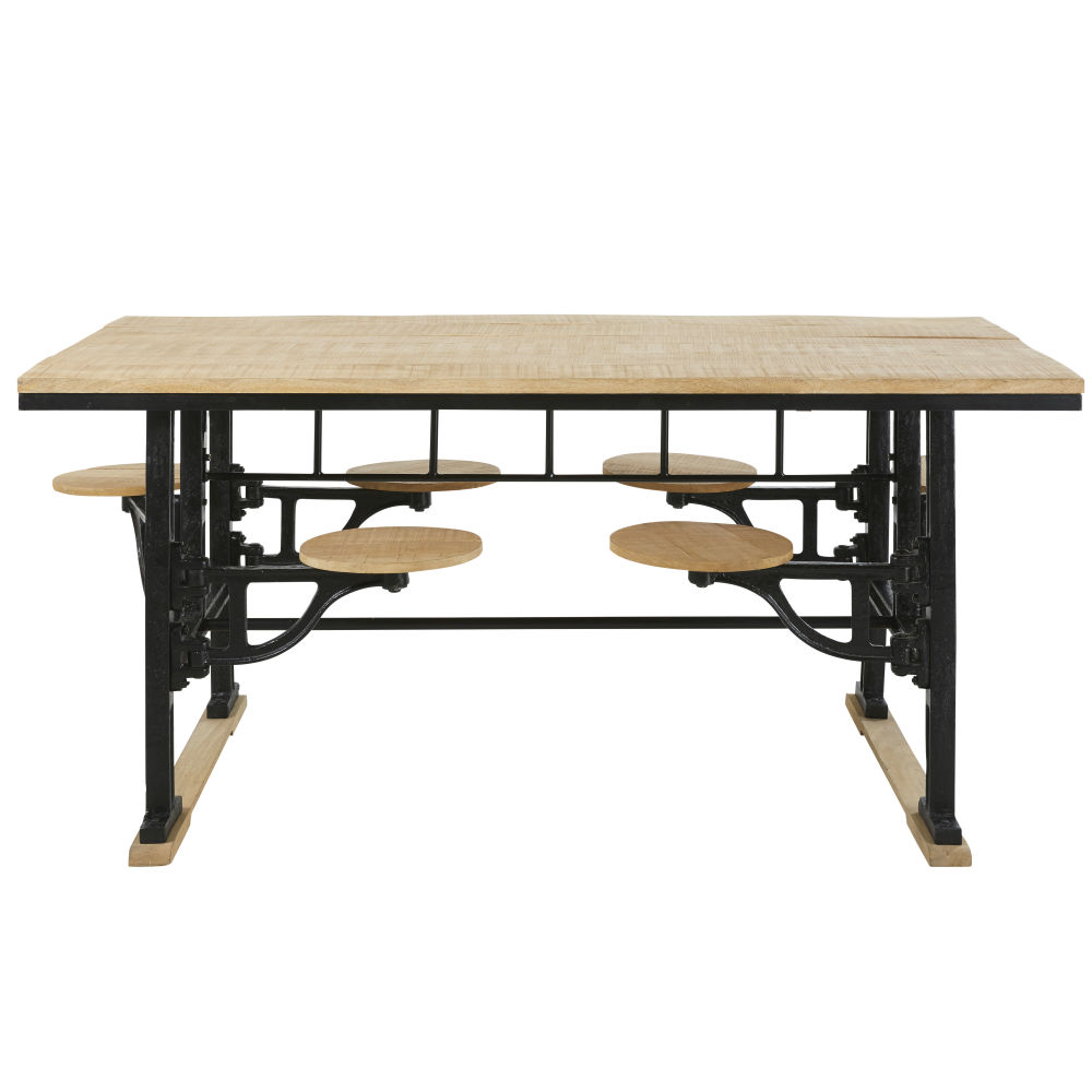 Table à manger 8 personnes avec tabourets en manguier et fonte L180 Factory (photo)