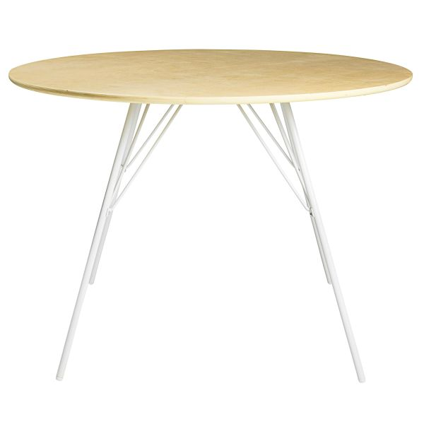 Table en peuplier et métal blanc D.110cm Bow