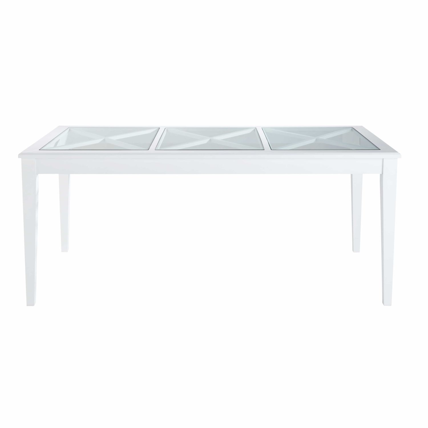 table manger en pin blanc et verre tremp 8 personnes l180 maisons du monde. Black Bedroom Furniture Sets. Home Design Ideas