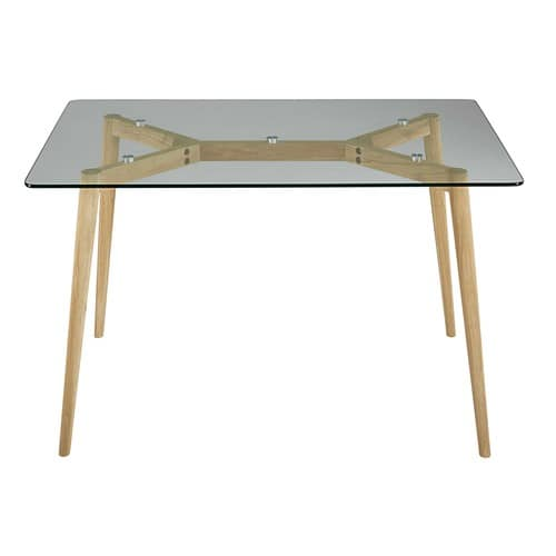 Table manger en verre et ch ne 6 personnes l120 mirage - Table carree en verre ...