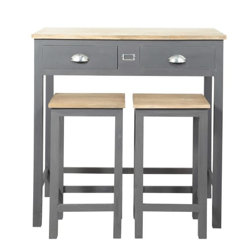 table manger haute et 2 tabourets gris l90 chablis. Black Bedroom Furniture Sets. Home Design Ideas