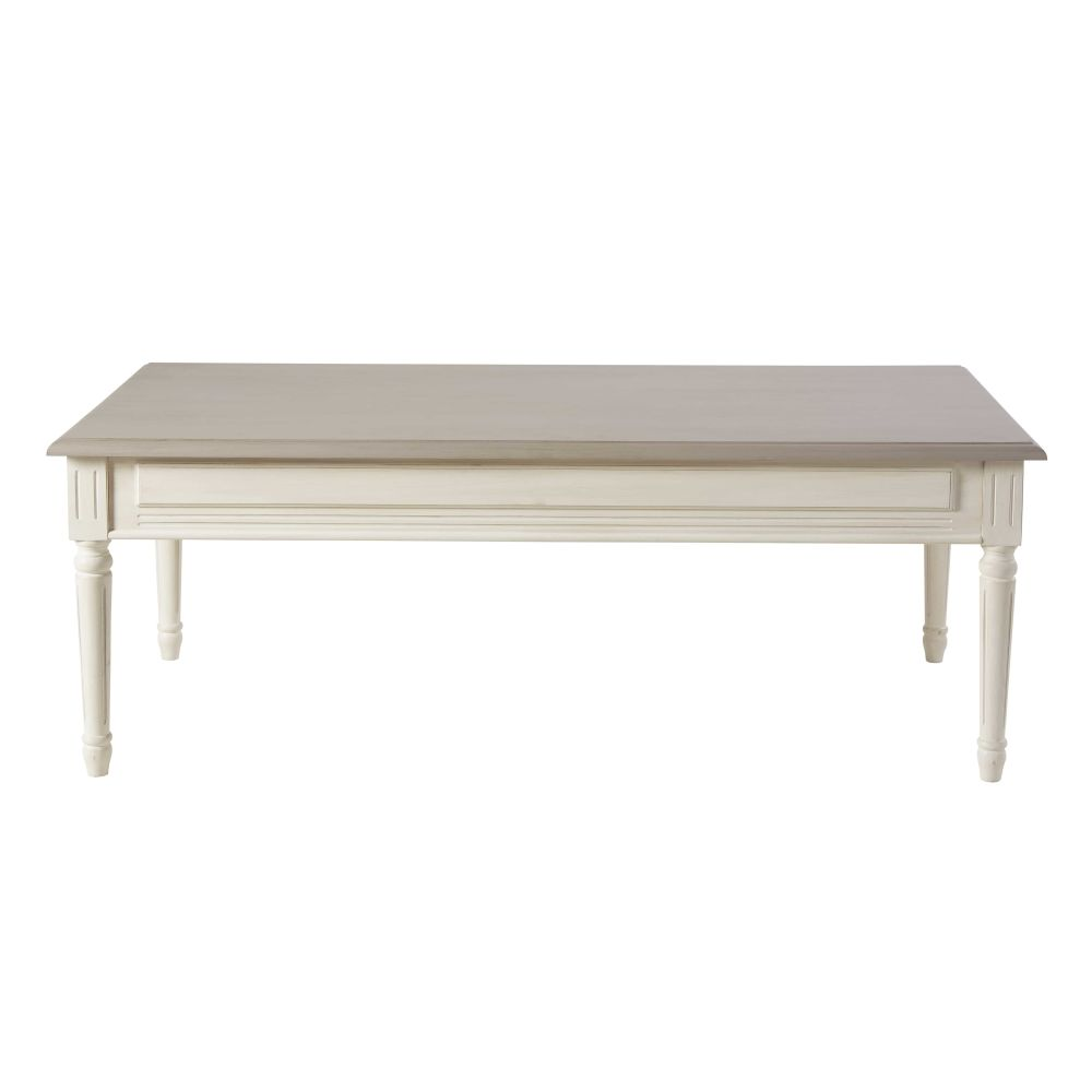 Table basse 2 tiroirs ivoire et taupe Camilla (photo)