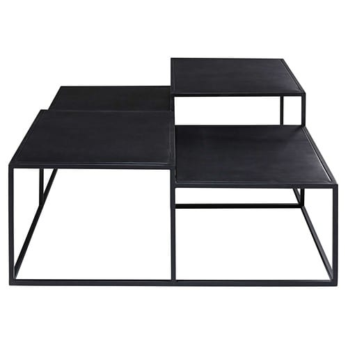 Table basse 4 plateaux en m tal noir edison maisons du monde for Maison du monde table basse de salon