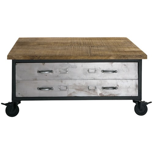 table basse roulettes en manguier et mtal l 100 cm - Table Basse A Roulettes