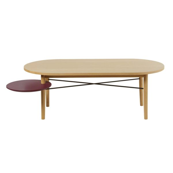 Table basse avec plateau rond pivotant bordeaux Workshop