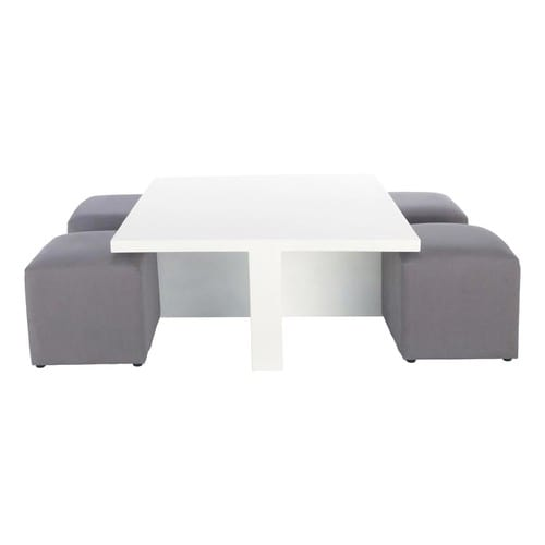table basse carr e blanche et 4 tabourets cubik maisons. Black Bedroom Furniture Sets. Home Design Ideas