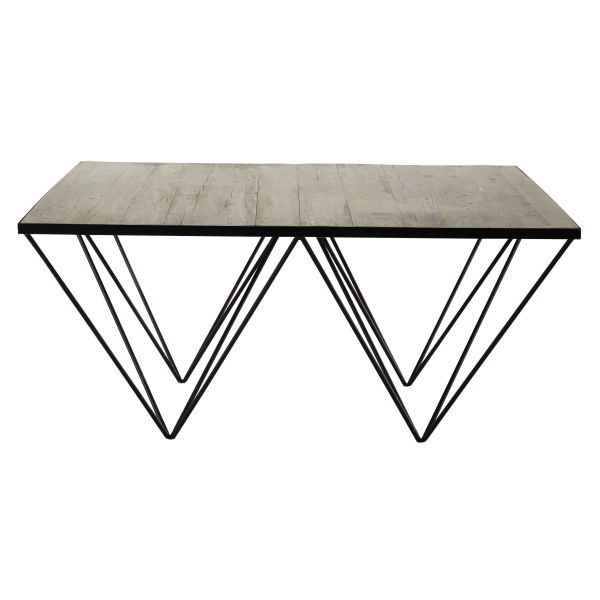 Table basse carre en bois recycl et mtal l cm diamond with for Kreabel table de salon