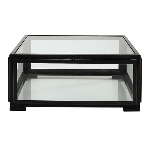 table basse carr e en verre et m tal noire l 80 cm. Black Bedroom Furniture Sets. Home Design Ideas