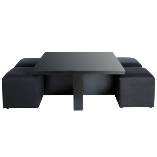 table basse carr e noire et 4 tabourets cubik maisons du. Black Bedroom Furniture Sets. Home Design Ideas