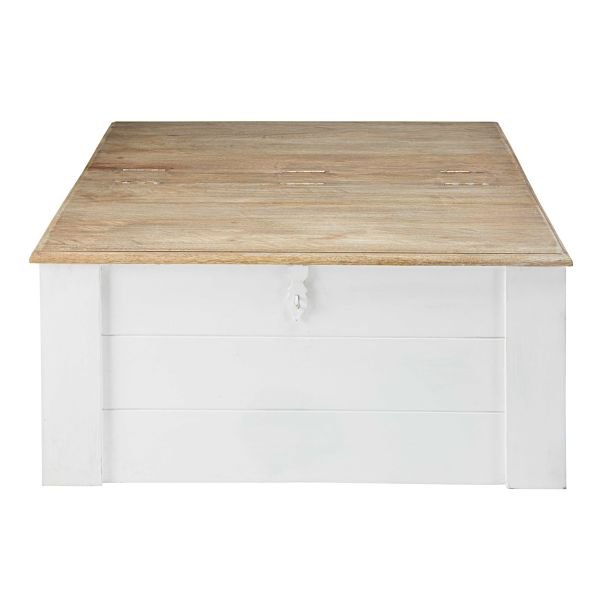 Table basse coffre en manguier massif blanc Figuerolles