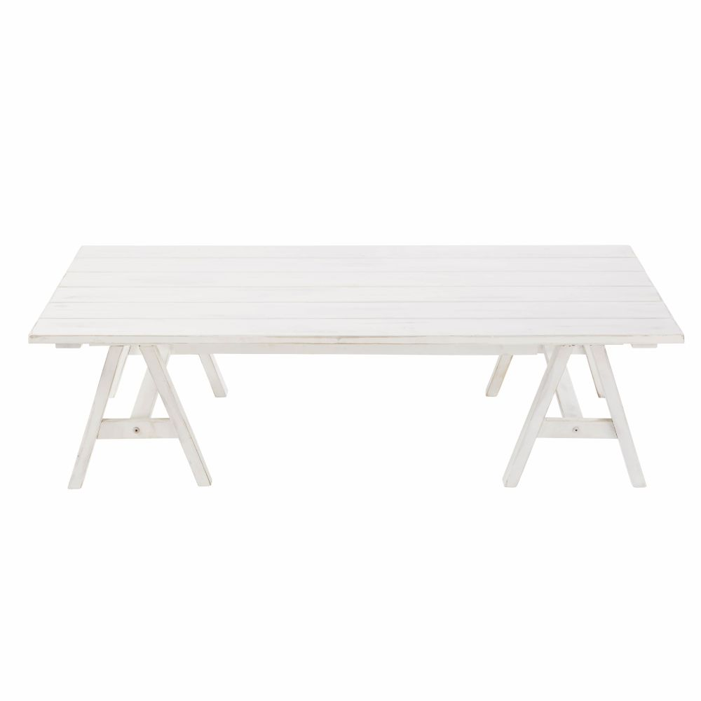 Table basse de jardin en acacia massif blanc Lisboa (photo)