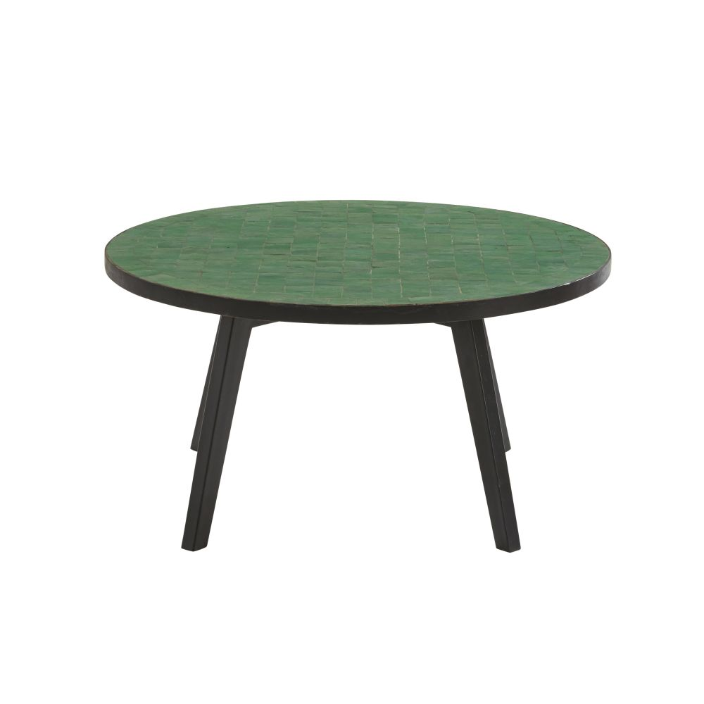Table basse de jardin en mosaïque verte Zeliges (photo)
