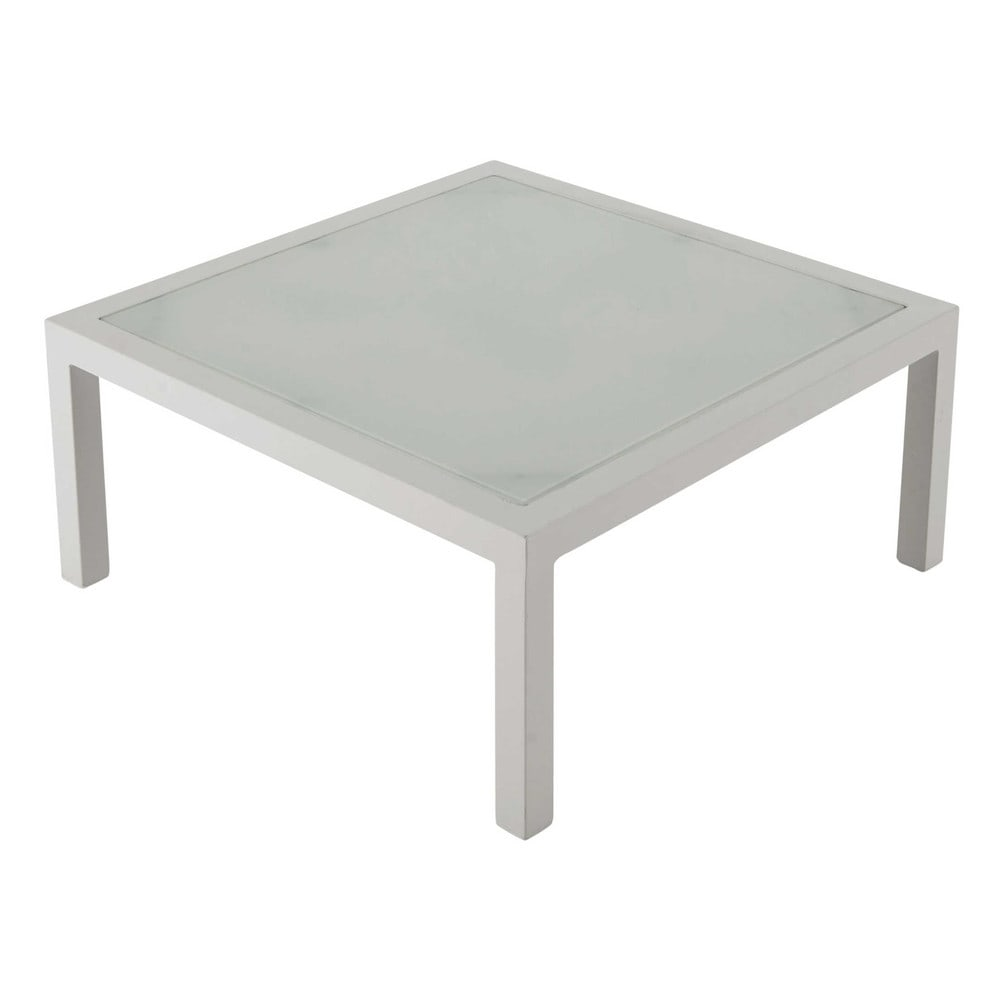 table basse de jardin en verre tremp et aluminium blanc l 71 cm riviera le fait main. Black Bedroom Furniture Sets. Home Design Ideas
